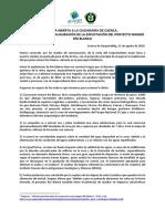 Carta abierta a la ciudadanía de Cuenca, a propósito de la inauguración de la explotación del proyecto Río Blanco