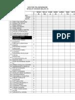 Daftar Pelaksanaan Sholat Dhuha