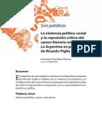 """La violencia político-social y la reposición crítica del canon literario""""."""