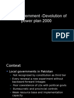 Devolution Plan 2000 in Pakistan