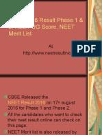 NEET Result 2016, NEET Result Phase 1, Phase 2 Score, Merit List
