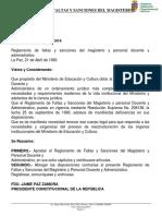 Reglamento de Faltas y Sanciones Del Magisterio.