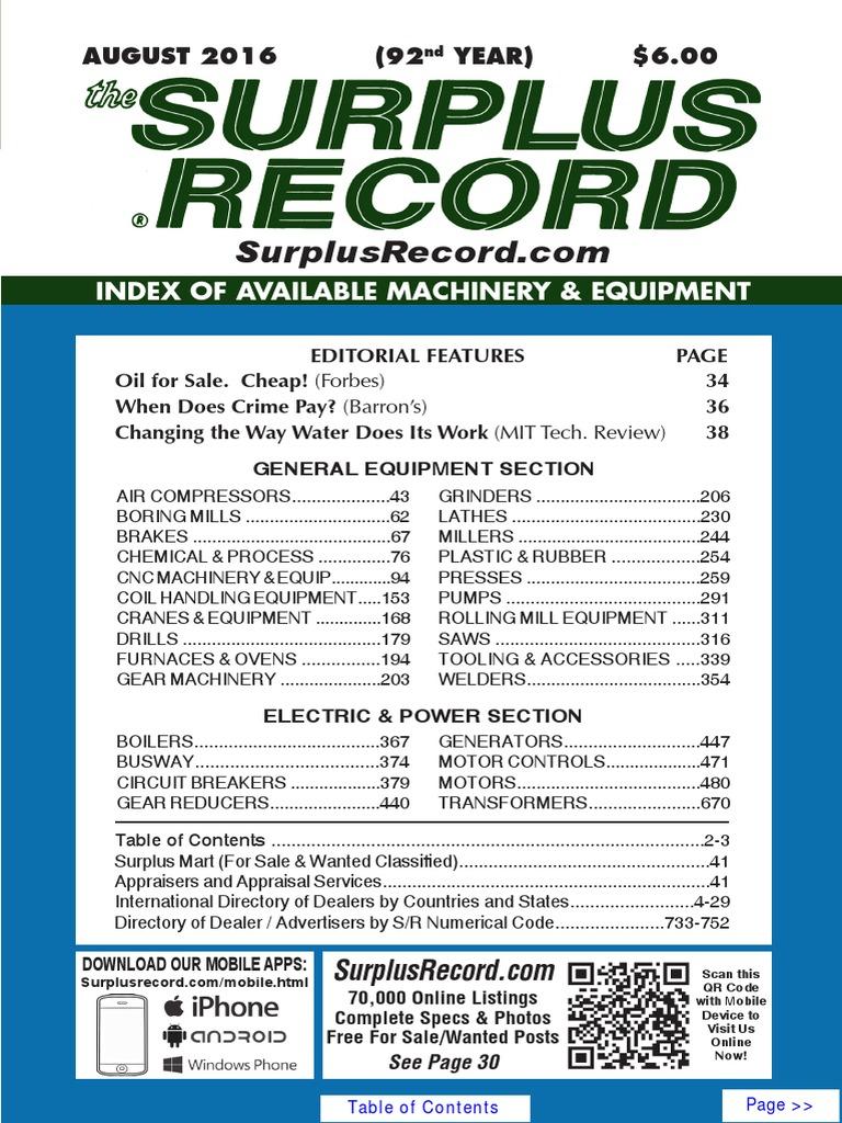 August 2016 Surplus Record Machinery Equipment Directory Bt300 Vfd Wiring Diagram