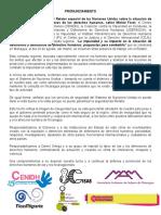 Pronunciamiento de defensoras y defensores de Nicaragua sobre la cancelación de la visita del Relator Especial para Defensores y Defensoras de Derechos Humanos de Naciones Unidas a Nicaragua