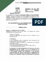 PROYECTO DE LEY Nª 010 LEY QUE MODIFICA LA LEY ORGÁNICA DEL TRIBUNAL CONSTITUCIONAL