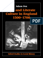 Adam Fox-Oral and Literate Culture in England, 1500-1700 (Oxford Studies in Social History) (2001)