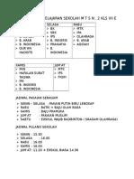 Daftar Mata Pelajaran Sekolah m t s n