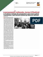 Giornalismo culturale, torna il Festival - Il Giornale d'Italia del 11 agosto 2016