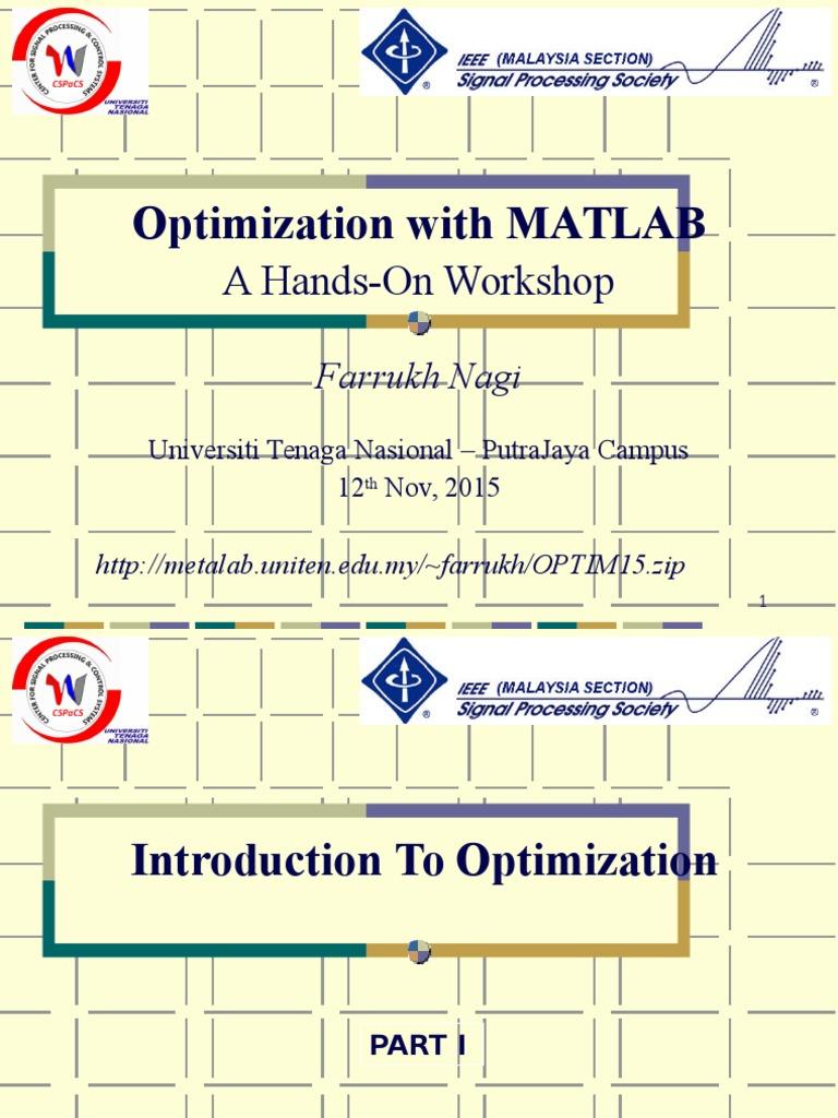 Optimization Presentation 2015 | Mathematical Optimization