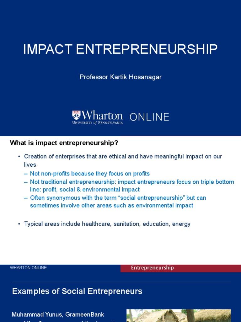 Impact Entrepreneurship | Social Entrepreneurship | Social