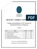 Design and Installation of PV System for Residential House in Malaysia (Energy Conversion - Coursework)