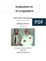 Beaugrande, R. & Dressler, W. Introduction to Text Linguistics