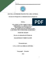 Planificación Tributaria Del Impueto a La Renta. TESIS
