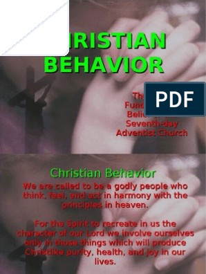 Christian Behavior - The 22nd Fundamental Belief of the