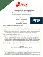 Bolivia_ Reglamento General de Universidades Privadas, 12 de Diciembre de 2012