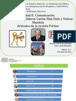 T04 Habilidades Directivas, Unidad II, Comunicación, Biografía de Líderes, y Revista Forbes, Tavera