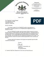 Letter of Support From Senator McIlhinney- Lower Makefield Dog Park 8 2 16