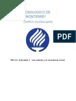 MIII-U1- Actividad 1. Los Valores y La Conciencia Morall.