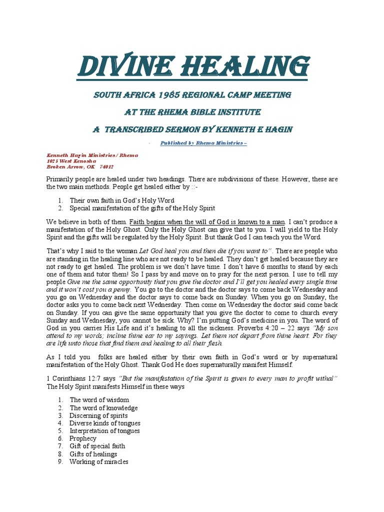 Divine healing kenneth e hagin glossolalia pentecostalism malvernweather Gallery