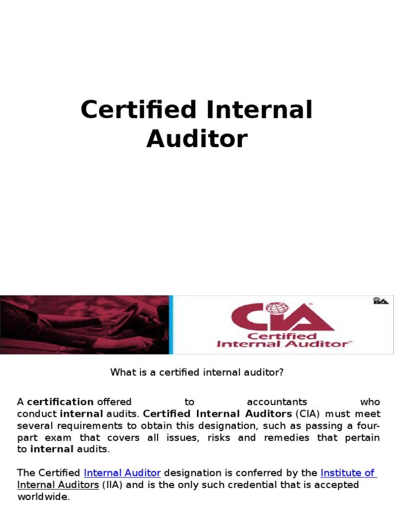 Certified Internal Auditor Internal Audit Audit