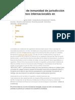 El Principio de Inmunidad de Jurisdicción de Organismos Internacionales en Colombia