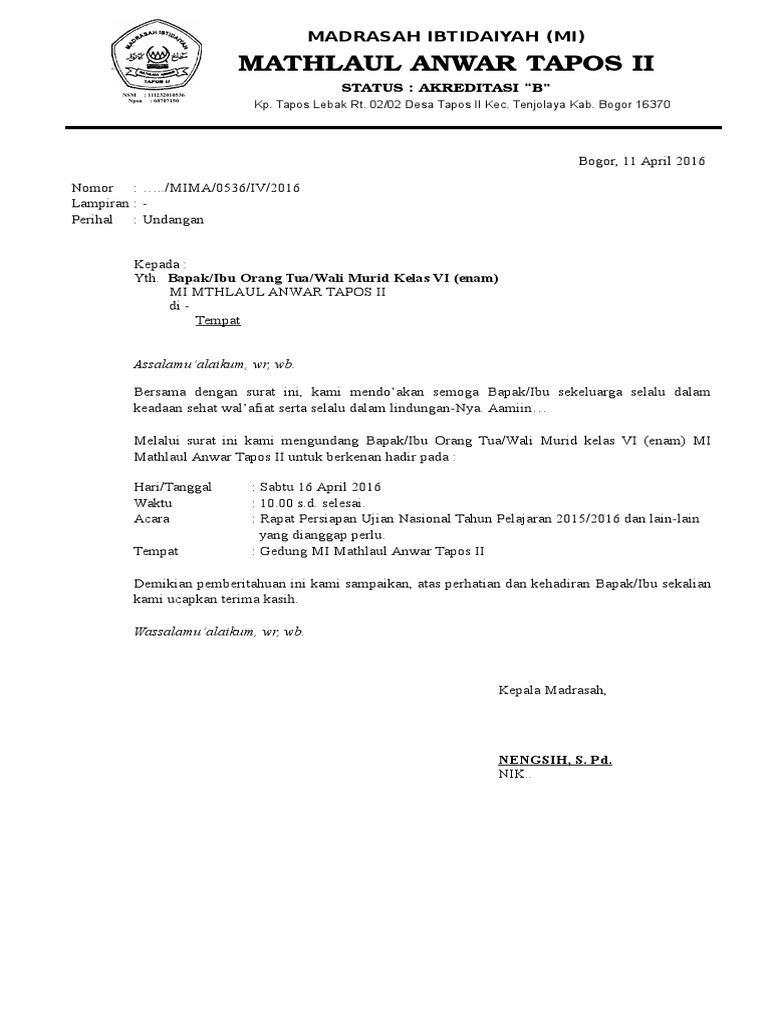 Contoh Surat Undangan Wali Santri Tpq