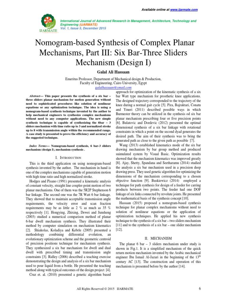 Nomogram-based Synthesis of Complex Planar Mechanisms, Part III: Six  Bar-Three Sliders Mechanism (Design I) | Kinematics | Synthesizer