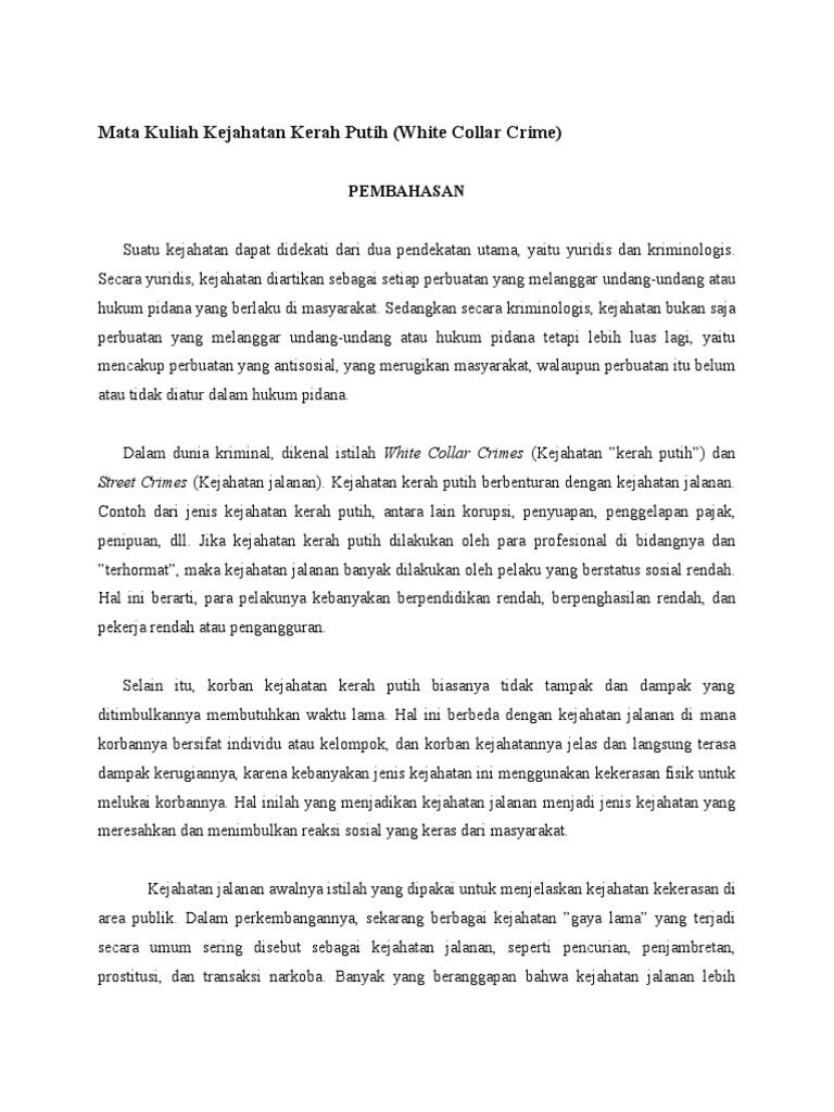 Contoh Kasus White Collar Crime Di Indonesia Temukan Contoh