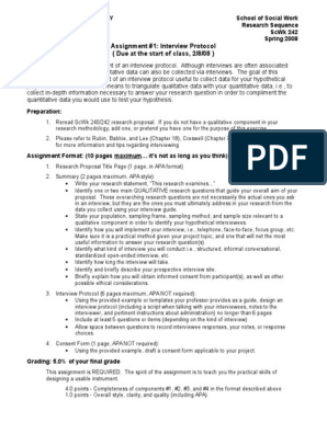 242 Assignment 1 Interview Protocol | Interview | Qualitative Research