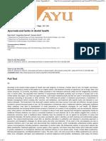 _i_Ayurveda__i_ and Herbs in Dental Health _Rajiv Saini, Sugandha Sharma, Santosh Saini, AYU (an International Quarterly Journal of Research in Ayurveda)