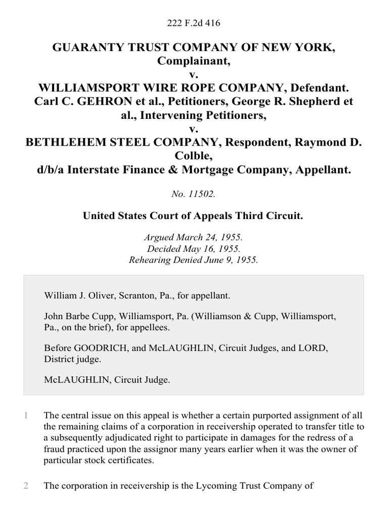 Guaranty Trust Company of New York v. Williamsport Wire Rope Company ...