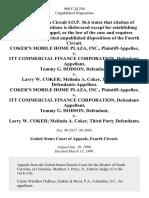 Coker's Mobile Home Plaza, Inc. v. Itt Commercial Finance Corporation, Tommy G. Dodson v. Larry W. Coker Melinda A. Coker, Third Party Coker's Mobile Home Plaza, Inc. v. Itt Commercial Finance Corporation, Tommy G. Dodson v. Larry W. Coker Melinda A. Coker, Third Party, 900 F.2d 250, 3rd Cir. (1990)