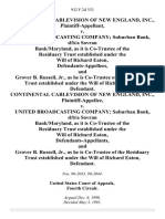 Continental Cablevision of New England, Inc. v. United Broadcasting Company Suburban Bank, D/B/A Sovran Bank/maryland, as It is Co-Trustee of the Residuary Trust Established Under the Will of Richard Eaton, and Grover B. Russell, Jr., as He is Co-Trustee of the Residuary Trust Established Under the Will of Richard Eaton, Continental Cablevision of New England, Inc. v. United Broadcasting Company Suburban Bank, D/B/A Sovran Bank/maryland, as It is Co-Trustee of the Residuary Trust Established Under the Will of Richard Eaton, and Grover B. Russell, Jr., as He is Co-Trustee of the Residuary Trust Established Under the Will of Richard Eaton, 932 F.2d 333, 4th Cir. (1991)