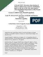 Frances F. Brittain v. Louis W. Sullivan, Secretary of Health and Human Services, 956 F.2d 1162, 4th Cir. (1992)