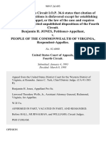 Benjamin H. Jones v. People of the Commonwealth of Virginia, 989 F.2d 493, 4th Cir. (1993)