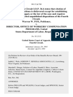 Warren W. Fox v. Director, Office of Workers' Compensation Programs, United States Department of Labor, 991 F.2d 789, 4th Cir. (1993)