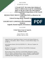 Resolution Trust Corporation, as Receiver for Coreast Federal Savings Bank v. Golden Key Limited Partnership Chong Pin Ong Kamran Saghafi Hamid Saghafi, 991 F.2d 790, 4th Cir. (1993)