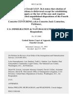 Concetto Centurino, A/K/A Concetto Jack Centurino v. U.S. Immigration & Naturalization Service, 993 F.2d 228, 4th Cir. (1993)