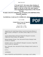 Wake County Hospital System, Incorporated v. National Casualty Company, 996 F.2d 1213, 4th Cir. (1993)