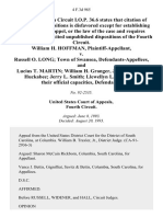 William H. Hoffman v. Russell O. Long Town of Swansea, and Lucius T. Martin William H. Granger, Jr. W. Venson Huckabee Jerry L. Smith Llewellyn L. Sharpe, in Their Official Capacities, 4 F.3d 985, 4th Cir. (1993)