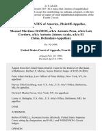 United States v. Manuel Martinez Ramos, A/K/A Antonio Pena, A/K/A Luis Cordero, A/K/A Antonio Jaimes-Ayala, A/K/A El Chino, 21 F.3d 426, 4th Cir. (1994)
