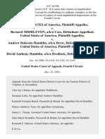 United States v. Bernard Middleton, A/K/A Cass, United States of America v. Andrew Dalcosta Hamblin, A/K/A Drew, United States of America v. David Anthony Hamblin, A/K/A Dredlock, 14 F.3d 598, 4th Cir. (1993)