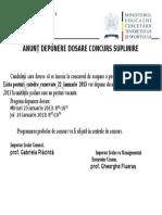 Anunt Depunere Dosare Concurs in Unitatile Scolare 22 Ianuarie 2013