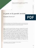 AUDOUZE, F. Le Geste Et La Parole Revisité.