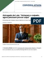 """Advogado de Lula_ """"Acharam o Culpado, Agora Precisam Provar Culpa"""" — Conversa Afiada"""