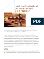 Transformation From Constitutional Disequilibrium to Sustainable Equilibrium is It Possible