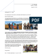 14 August 2016 Letter to Barack Obama - Standing Rock Reservation Confrontation with Dakota Access Pipeline