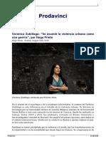 Veronica Zubillaga Se Asumio La Violencia Urbana Como Una Guerra Por Hugo Prieto