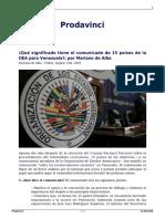 Que Significado Tiene El Comunicado de 15 Paises de La Oea Para Venezuela Por Mariano de Alba