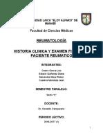 Historia Clinica y Examen Fisico Del Paciente Reumatico